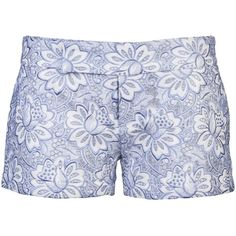See this and similar Sacai Luck shorts - Lace short in white from Sacai Luck. These cotton short shorts feature a floral lace outerlay, defined waist, a zip fly...