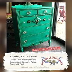 General Finishes Patina Green Milk Paint was the perfect color choice for this dresser. Thanks for sharing this one, Carolyn Dunn Harmon! We'd love to see your projects made with General Finishes products! Tag us, email, or use #GeneralFinishes. You can also share with us through our facebook page.
