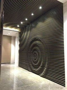 16 Modern And Minimalist Wall Art Decoration Ideas - fancydecorsThere is a lot of texture on this wall. The circular shape that is made really catches your eye and makes you want to touch the wall.picture, portrait or smit logoLaser cut, make into pulsati Wooden Walls, Metal Walls, Wood Wall Art, Wall Art Decor, Room Decor, Modern Wall Decor, 3d Wall, Karton Design, Parametric Design