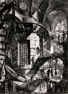 "#3.-   Giovanni Battista Piranesi (1728-78) - Series of etchings titled ""Carceri d Invenzione"" (Imaginary Prisons, Round Tower)."