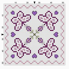 Cross-stitch Butterfly Biscornu... no color chart available, just use pattern chart as your color guide.. or choose your own colors...    mausimom's: Zeitumstellung