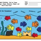This is a Fun Worksheet to help develop understanding of Tempo Markings and Tempo Vocabulary. Color the fish the correct color associated with the Tempo Term. Adagio is slow Moderatio medium Allegro is quick Presto very fast. Help Teaching, Teaching Music, Teaching Resources, Music Education Activities, Music Worksheets, Elementary Music, Going Fishing, Music Notes, Good Music