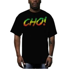 This soft black Men's tee features Cedella's catch phrase in brilliant Green, Gold, and Red colors across the front. Wear the message...Cho!