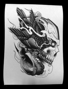 Daniel Formentin Limited Edition Tattoo Art Print - Bird/Skull Size: A3 (297mm x 420mm) Stock: 185gsm watercolor paper, high quality archival