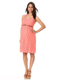 Perfect for summer evening events, from Motherhood Maternity! Sleeveless Belted Maternity Dress