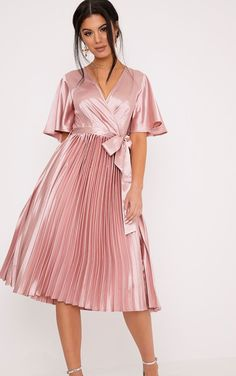 Mairee Dusty Pink Satin Pleated Midi Dress | PrettyLittleThing USA