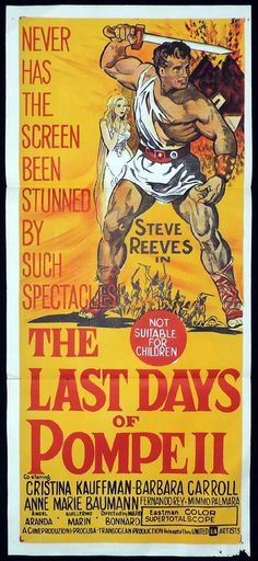 LAST DAYS OF POMPEII Original Daybill Movie Poster Steve Reeves Sword and Sandal