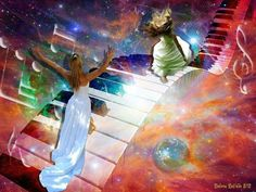 Woman praising the Lord with her hands lifted up stepping on piano keys in the music of the Universe. Prophetic art.