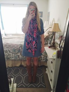 OOTD - 10.21.15 J.Crew Chambray Shirtdress Lilly Pulitzer Blanket Scarf Target Riding Boots