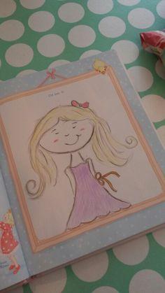 Tekenen met mijn kleine dame! Zelfportret in het vrienden boekje! #watdoetvanessanu