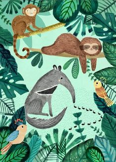 Petit Monkey poster Anteater and Sloth 50 x 70 cm