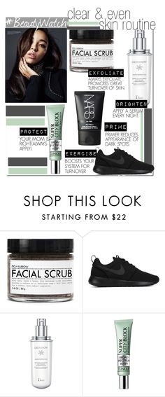 """Clear & Even Skin Routine...."" by nfabjoy ❤ liked on Polyvore featuring beauty, Fig+Yarrow, NIKE, Christian Dior, Clinique, NARS Cosmetics and beautyroutine"