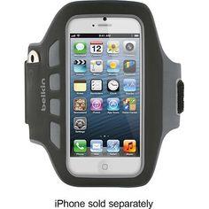 Belkin - EaseFit Plus Armband for Apple® iPhone® 5 - Black - Larger Front