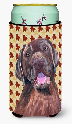 Labrador Chocolate Fall Leaves Portrait Tall Boy Beverage Insulator Beverage Insulator Hugger
