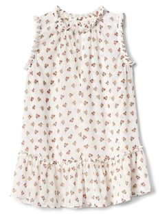 Gap Womens Floral Sleeveless Ruffle Top White Floral