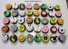 Homemade eggless, handcrafted Animal faces theme customized designer fondant cupcakes for boy's 1st birthday at Wakad, Pune