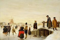 Hendrick Avercamp : Figures skating in a Dutch landscape (Private collection) 1585-1634 ヘンドリック・アーフェルカンプ