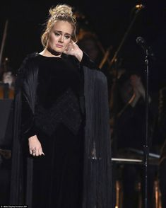 Heartbroken: The star clearly disappointed after the performance. It is the second time she has encountered difficulties performing at the Grammy Awards Blue Aint Your Color, Shirley Caesar, Bj The Chicago Kid, Adele Love, Tamela Mann, Adele Photos, Adele Adkins, R&b Albums, Vestidos