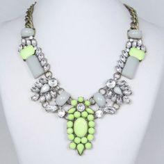 Vintage Style Chunky Green Bead Flower Rhinestone Crystal Statement Necklace   eBay