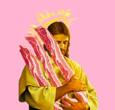 Jesus loves bacon. Un collage qui mêle l'art à l'humour totalement absurde, j'adore !