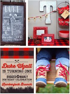 little lumberjack themed 1st birthday party! Cute ideas if you're planning a party! Via Kara's Party Ideas KarasPartyIdeas.com
