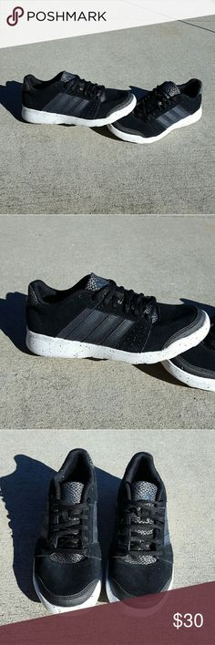 Adidas black and white running shoes Worn once Size 6.5  Sneakers  Fits true to size No Trades Adidas Shoes Athletic Shoes