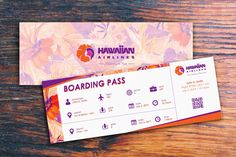 Hawaiian Airlines 90th anniversary boarding pass I designed. I do not own the rights to the logo or floral pattern.
