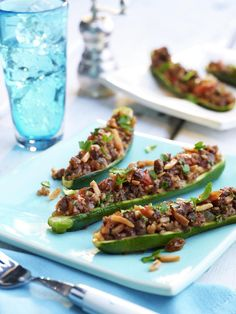 Beef and Almond Stuffed Zucchini Boats: 4 servings; 320 calories, 14 g fat per serving Zucchini Boat Recipes, Zucchini Boats, Stuffed Zucchini, Healthy Options, Healthy Recipes, Plats Healthy, Recipe Center, California Almonds, Eating Organic