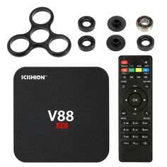 V88 Smart Android 6.0TV Box RK3229 Quad Core UHD 4K 1G / 8G Mini PC WiFi H.265 US Plug + DIY Tri Fidget Spinner