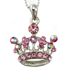 Light Pink Princess Crown Tiara Pendant Necklace Silver Tone Pink Stones Teens Girls Fashion Jewelry