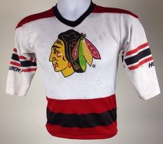 Vintage Chicago Blackhawks Hockey NHL Hutch Jersey Small Cup Made in USA Flaws   eBay