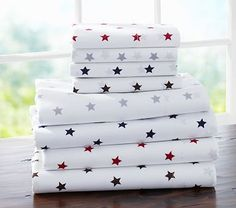 Organic Star Sheeting #PotteryBarnKids  Love these. They will go well with the comforters I bought