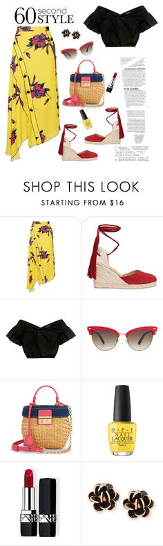 """60-Second Style: Asymmetric Skirts"" by ellie366 ❤ liked on Polyvore featuring Proenza Schouler, Castañer, Rachel Comey, Gucci, Draper James, OPI, Christian Dior, Chantecler, Wedges and ruffles"
