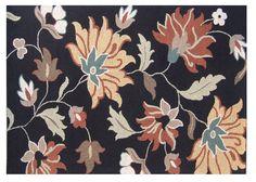 Tuscany Black Floral Rug