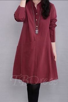 Fashion Summer Dress Robe 2017 Elegant Women Casual Loose Long Sleeve Linen Shirt Dresses Solid Pocket Vestidos Plus Size Women's A Line Dresses, Knee Length Dresses, Tunic Designs, Kurta Designs, Dress To Party, Pullover Mode, Casual Dresses For Women, Clothes For Women, Mode Chic