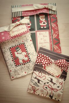 sewing on paper to make decorative packages.
