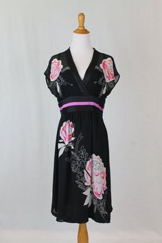 Sue Wong Vintage 1930 S 1940 Style Novelty Print Black Silk Dress Size 10