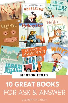 Find 10 fantastic read alouds or mentor texts for the ask and answer questions standard. These RL fiction texts are perfect for your lesson plan and instruction for RL.K.1, RL.1.1, RL.2.1, RL.3.1, and RL.4.1. Fluency Activities, Grammar Activities, Reading Activities, Favorite Questions, 2nd Grade Reading, Mentor Texts, Fiction And Nonfiction, Swim Lessons, Cute Stories