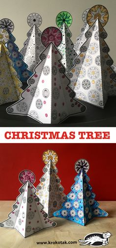 Paper Christmas Tree with Free Template from Krokotak Diy Christmas Decorations, Diy Christmas Gifts For Family, Christmas Hacks, Christmas Activities, Holiday Crafts, Large Christmas Baubles, Noel Christmas, Christmas Ornaments, Winter Crafts For Kids