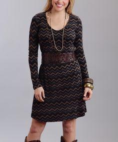 Brown Chevron Scoop Neck Dress
