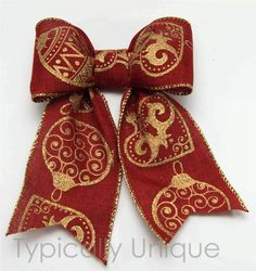 Christmas wire edged ribbon 'Bauble' http://stores.ebay.co.uk/Typically-Unique-Flowers-and-Gifts?_rdc=1