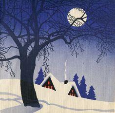 Vintage Christmas card, Retro Winter, Retro Holiday