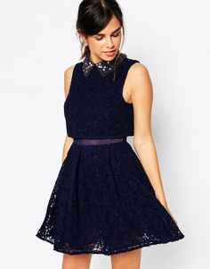 ASOS Embellished Collar Lace Crop Top Mini Skater Dress