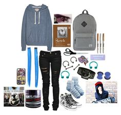 """weekend trip to Baltimore"" by two-hundred-forty-nine-point-two ❤ liked on Polyvore featuring Herschel Supply Co., Sharpie, Denim of Virtue, claire's, Punky Pins, Converse, Woolrich, Wet Seal, Manic Panic and HARRISON"