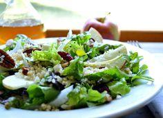 Crisp Apple Pecan Salad with Apple Cider Vinaigrette! #recipe #cider #apple #seasonal #salad #pecan #nuts