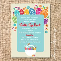 Funky Easter Printable Invitation - love all the bright colors