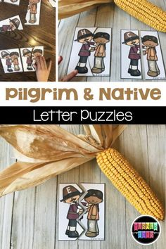 Pilgrim and Native Letter Puzzles Match Up The Letters Of The Alphabet With These Puzzles For A Thanksgiving Preschool Activity Abc Preschool, Preschool Letters, Preschool Ideas, Thanksgiving Projects, Thanksgiving Preschool, Toddler Learning Activities, Math Activities, Pilgrims And Indians, Puzzles