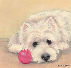 Westie-My-Red-Ball-Limited-Edition-Print-off-Original-Painting-Sue-Barratt