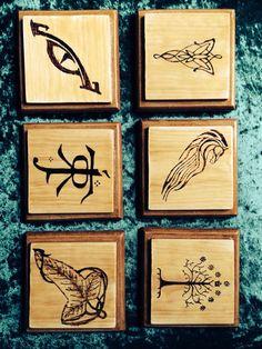 Handmade coasters by riakesree- wood burned #LOTR and varnished on pine