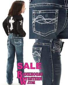 SALE, Cowgirl Tuff Company, Girl's Don't Fence Me In Crystal Jeans, Little Buckaroo Denim, Youth Rodeo, Little Britches, ON SALE NOW @ http://www.bunkhousewestern.com/GDC_p/gcrstl.htm